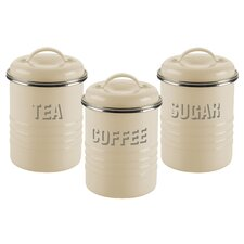 Vintage Kitchen 3 Piece Storage Jars Set in Cream