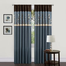 Cocoa Blossom Rod Pocket Curtain Panel Pair with Tiebacks