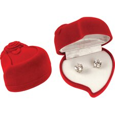 Brilliant Cut Cubic Zirconia Stud Earrings With Heart