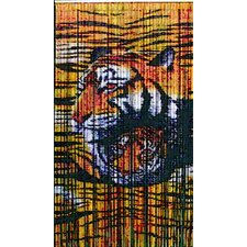 Natural Bamboo Tiger Design Curtain Single Panel