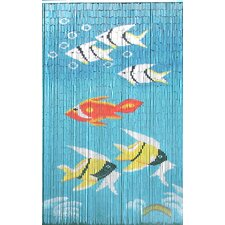 Natural Bamboo Fishes Curtain Single Panel