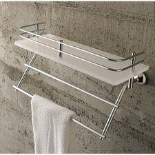 White Plexiglass Shelf with Rail and Towel Rack