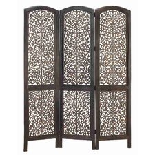 Rustic 3 Panel Wood Screen with Leaf Design