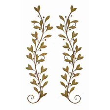 Urban Trends Leaves and Beads Metal Wall Décor (Set of 2)