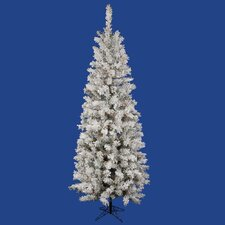 "Flocked Pacific Pine 7' 6"" White Artificial Pencil Christmas Tree with 275 Multicolored LED Lights with Stand"
