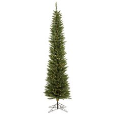 "Durham Pole Pine 8' 6"" Green Artificial Christmas Tree with 600 Clear Lights with Stand"