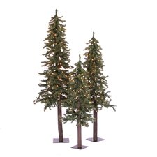 Natural Alpine Green Artificial Christmas Tree with 185 Multicolored Lights with Stand