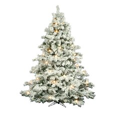 "Flocked Alaskan 7' 6"" White Artificial Christmas Tree with 800 Clear Lights with Stand"