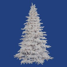 "Flocked White Spruce 7' 6"" Artificial Christmas Tree with 850 Clear Lights with Stand"