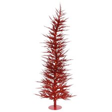 Colorful Laser 4' Red Artificial Christmas Tree with 70 Lights