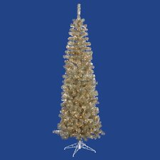Champagne Pencil 6.5' Artificial Christmas Tree with 300 Clear Lights
