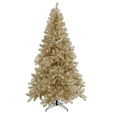 Champagne 8' Artificial Christmas Tree with 600 Clear Mini Lights with Stand