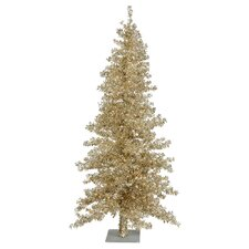 Champagne Wide Cut 7.5' Artificial Christmas Tree with 300 Clear Mini Lights with Stand