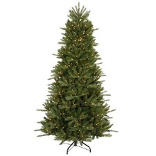 "Vermont Instant Shape 7' 6"" Green Artificial Christmas Tree with 700 Clear Dura-Lit Mini Lights eith Stand"