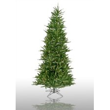 "Tiffany Spruce 7' 6"" Green Slim Artificial Christmas Tree with 550 Pre-Lit Multicolored Lights with Stand"