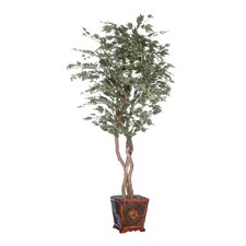 "Designer 72"" Artificial Potted Natural Maple Heartland Tree in Green"