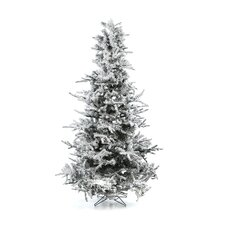 "Flocked Sierra Fir 7' 6"" White Artificial Christmas Tree with 750 Clear Lights with Stand"