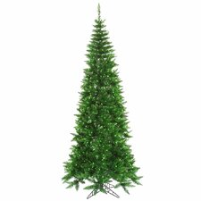 "5' 6"" Tinsel Green Slim Fir Artificial Christmas Tree with 300 Mini Lights"