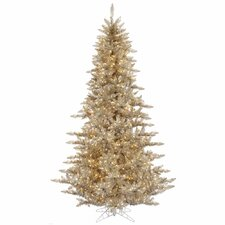 "5' 6"" Champagne Fir Artificial Christmas Tree with 400 Mini Clear Lights"