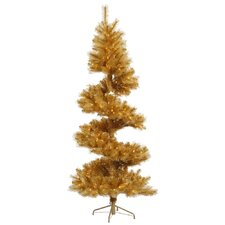 Glitter 7' Gold Spiral Artificial Christmas Tree with 300 Clear Lights