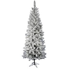 "Flocked Pacific Pine 7' 6"" White Artificial Pencil Christmas Tree with Stand"
