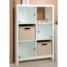 NEW YORK SKYLINE 6-Cube Bookcase in Plumeria White Finish