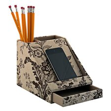 Grand Expressions Charging Station in Neutral & Chocolate Floral Print