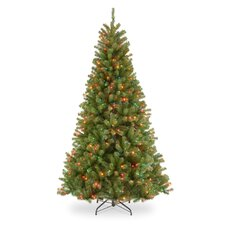 North Valley 7.5' Green Hinged Spruce Artificial Christmas Tree with 550 Multicolor Lights with Stand