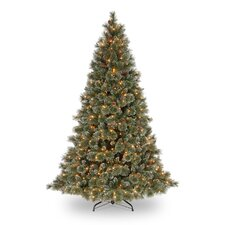 "Glittery Bristle Pine Pre-Lit 7' 6"" Green Artificial Christmas Tree with 750 Pre-Lit Clear Lights"