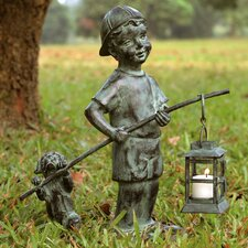 Boy with Dog Lantern Statue