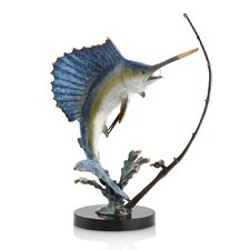 Fighting Sailfish with Tackle Statue