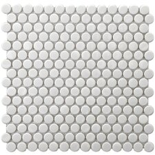 "Retro 11-1/2"" x 11-1/2"" Glazed Porcelain Penni Mosaic in White"