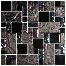 "Eden 11-3/4"" x 11-3/4"" Polished Glass and Stone Versailles Mosaic in Iris"