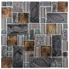 "Eden 11-3/4"" x 11-3/4"" Polished Glass and Stone Versailles Mosaic in Walnut"