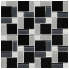 "Ambit 11-3/4"" x 11-3/4"" Polished Glass Block Mosaic in White and Black"