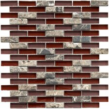 "Sierra 11-3/4"" x 11-3/4"" Polished Glass and Stone Subway Mosaic in Bordeaux"
