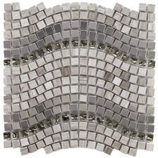 "Sierra 12-1/4"" x 11-3/4"" Polished Glass, Stone and Metal Mosaic in Wave Mercury"