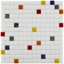 "Fused Glass 12"" x 12"" Polished Glass Mosaic in Happy"