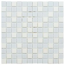 "Chroma 11-1/2"" x 11-1/2"" Square Glass and Stone Mosaic Wall Tile in Cordia"