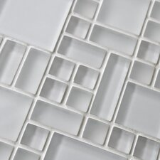 "Sierra 11-3/4"" x 11-3/4"" Polished Glass Mosaic in Versailles Ice White"