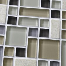 "Sierra 11-3/4"" x 11-3/4"" Polished Glass and Stone Mosaic in Versailles River"