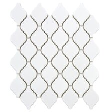 "Arabesque 9.88"" x 11.13"" Porcelain Mosaic Tile in Glossy White"