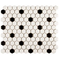 "Retro 11-3/4"" x 10-1/4"" Glazed Porcelain Mosaic in Matte White with Black Dot"