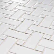 "Basket Weave 9-3/4"" x 9-3/4"" Glazed Porcelain Mosaic in White"