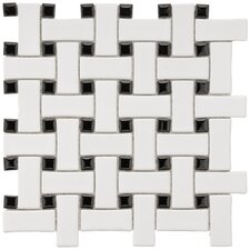 "Basket Weave 9-3/4"" x 9-3/4"" Glazed Porcelain Mosaic in White and Black"