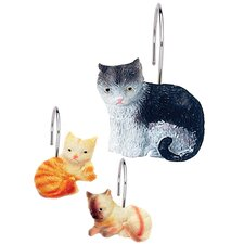 Kitty Heaven Shower Curtain Hooks (Set of 12)