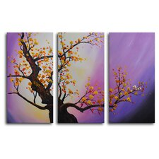 "Hand Painted ""Autumn Leaves, Purple Aura"" 3-Piece Canvas Art Set"