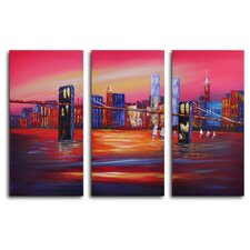 "Hand Painted ""Bridge to the City"" 3-Piece Canvas Art Set"