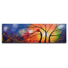 "Hand Painted ""Ethereal Trees Dance"" Canvas Wall Art - 12"" x 40"""