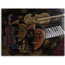 "Handmade ""Masked Trio"" Leather Wall Art"